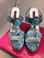 NIB Women's Dollhouse Coju High Heel Sandals Blue Snakeskin Pattern Turquoise 9