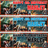 2 personalized birthday banner party avengers boys girls any name ages