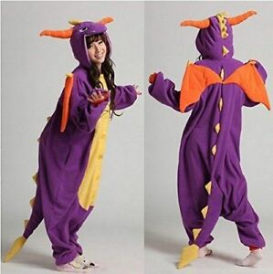 Halloween Spyro Purple Dragon Onesiee Kigurum Fancy Dress Costume Bodysuit Pajam