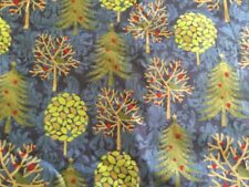JOANN EXCLUSIVE CHRISTMAS FABRIC BLUE TREES GOLD EMBELLISHMENTS BTY