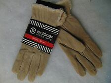 Isotoner Suede Leather Gloves Camel Beige MicroLuxe Lined Large #C175