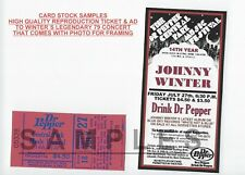 Johnny Winter Central Park 1979 8x10 rare Fans Snapshot + repro Ad & ticket(3)