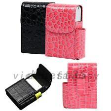 Black Cigarette Hard Case Pouch Leather Holder Wallet Purse