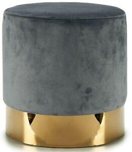 Pouffe Modern Padded Stool Upholstered In Grey Velvet On Gold Base Chair