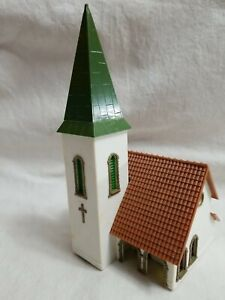 """1960's FALLER #239 HO COUNTRY CHURCH w/ 4-SIDED STEEPLE - ASSEMBLED, 4"""" x 4"""""""