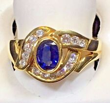 LADIES SAPPHIRE + DIAMOND 18KT YELLOW GOLD RING