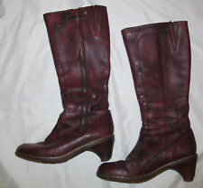 DR MARTENS knee high JENNA tall burgundy red zip snaps heeled leatner boots US 8