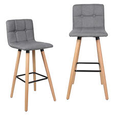 Moustache® 2PK Fabric Bar Stool with Beech Wood Legs, Gray Christmas Gifts