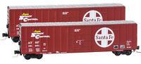 Z SCALE AT&SF Santa Fe 50' Ribside Boxcar 2 Car Set MTL #511 00 221 & 511 00 222