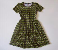LuLaRoe Amelia in Neon Yellow & Purple Chevron Textured Pleated A-line Dress L