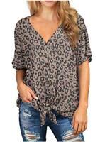 IWOLLENCE Womens Loose Henley Blouse, 24 Leopard Print Dark Khaki, Size Medium 2