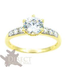 1 Karat Look 9ct REAL GOLD Created DIAMOND Wedding ENGAGEMENT Ring Full Size H-V