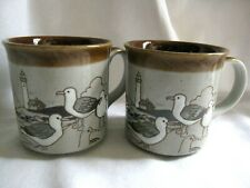 2 Vintage Embossed Beach Theme Mug Seagulls Lighthouse Shore Stoneware Glazed