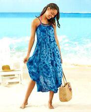 Women's Bathing Suit Cover-Up Swing Dress Tie-Dye Pattern Cobalt Blue XL 18/20