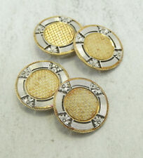 14K Yellow & White Gold Detailed Textured Round Cufflinks 6.5 Grams D1132