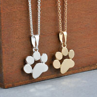 Retro Women Dogs Footprints Cat Paw Pendant Chain Necklace Jewelry Gold Silver