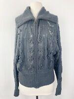 Anthropologie Frenchi Small Sweater Grey Zipper Knit Stretch Cardigan