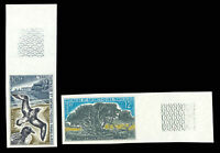 FSAT 1969 10fr PIGEONS & 12fr PHYLICA TREES IMPERF NH #26 27 Maury #31-32