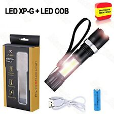 LINTERNA LED RECARGABLE USB TACTICA CON ZOOM, LED XP-G + LUZ COB + Bateria 18650