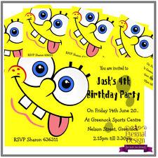 5 X Personalised Kids Childrens Birthday Invite Invitation Spongebob Squarepants
