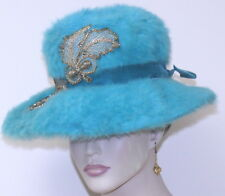 vintage 1960 Mr Joseph's NY HAT Blue Fur golden appliques seed pearls union made