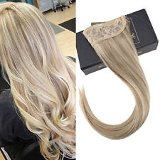 Sunny Invisible Halo Human Hair Extensions Wire Hair Blonde Highlight 16/22
