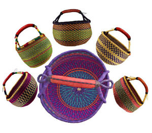 Orig. Afrika Bolga Korb Einkaufskorb Marktkorb Stabil Leder Produktnr.A10