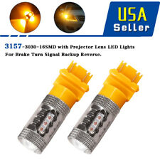 2x Yellow/Amber 3157/3156 High Power 80W Non-Polarity LED Interior Light Bulbs