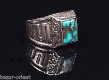 Traditioneller Tibetischer Türkis Ring tibetan turquoise ring neusilber  Nr.16