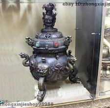 22Tibet Buddhist Temple Pure Bronze Garuda Dragon Mahakala incense burner Censer