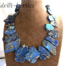 19'' 20mm-50mm Blue Chunk Emperor Stone Tower Necklace