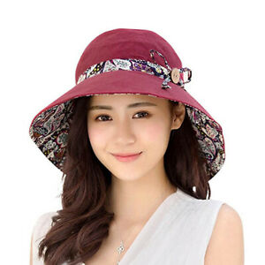 Lady Summer Foldable Hat Breathable Cotton Reversible Sun Hat Women Fashion