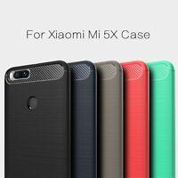 For Xiaomi Mi 5X A1 Case Shockproof Luxury Carbon Fiber Rubber Soft TPU Cover