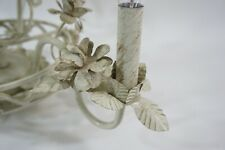 Vintage Metal Tole Chandelier Lamp Light Fixture Off White Gold Flower Lamp