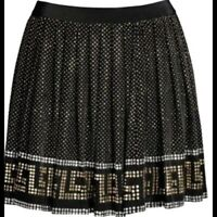 Versace for H&M Studded Pleated Silk Mini Skirt Size 34 USA 4