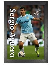 Sergio Aguero 3 Football Player Manchester City Signed Poster Sport Star Print