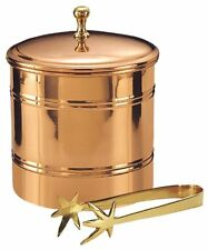 Copper Ice Bucket 3 Qt. Brass Tongs Spur Shaped Plastic Lining 9 x 7.7 x 7.7 in
