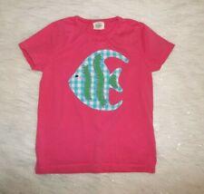 Girls 7 8 Y Mini Boden Pink Angel Fish Applique Short Sleeve Top Shirt
