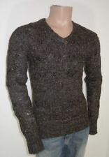 Men's Chunky, Cable Knit Knit No Pattern V Neck Regular Jumpers & Cardigans
