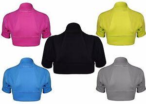 Womens New Ribbed Short Cap Sleeve Ladies Front Open Cardigan Bolero Shrug Top