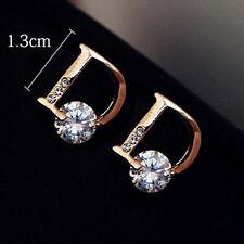 Fashion Women Crystal Drop Earring Gold Letter D Chic Vogue Ear Stud Jewelry