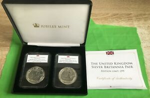 2015 AND 2016 SILVER BRITANNIA 2 COIN LIMITED EDITION 299 SET