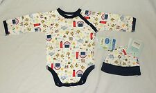 NEW Unisex Baby Boy Long Sleeve One Piece & Hat Organic 6 M Farm Rooster Barn