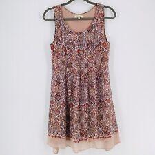 Max Studio Tunic/ Mini Dress Sleeveless Boho Small Pleated Front Floral
