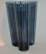 "Alvar Aalto Iittala Finland Rain Blue Glass Savoy Vase 9.75"" H x 6.5"" D VGC! NEW"
