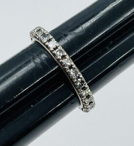 Antique Platinum Diamond Eternity Band Ring Size 8