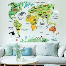 Animals Safari World Map Kids Decor Removable Wall Decal School Sticker Art L9X8