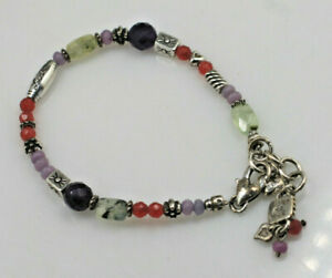 """Brighton Hearts Melody Charm Listen to your Heart purple red beaded bracelet 8"""""""