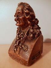 Sculpture statue ancienne buste Voltaire platre XIX 19 siecle 1853 signé H. L.