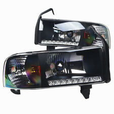 Headlights with LED DRL for 1994-2001 Dodge Ram 1500 2500 3500 - Black/Clear